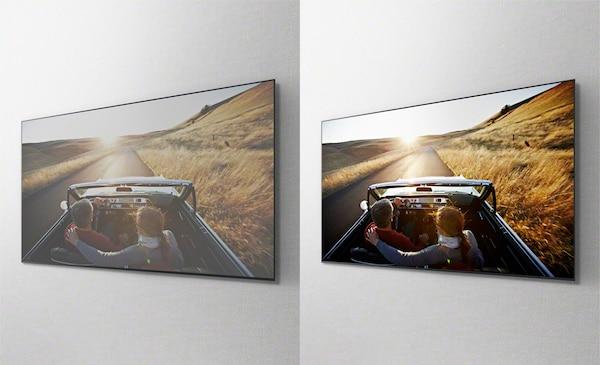 Ảnh chụp từ trên cao chiếc ô tô đang di chuyển trên đường ở các màn hình TV riêng biệt, cho thấy tác dụng của tấm màn hình X-Wide Angle.