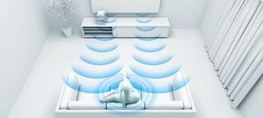 Hình ảnh thể hiện sóng âm với công nghệ tối ưu hóa cho phòng