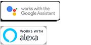 Logo Google Assistant built-in và Amazon Alexa tích hợp
