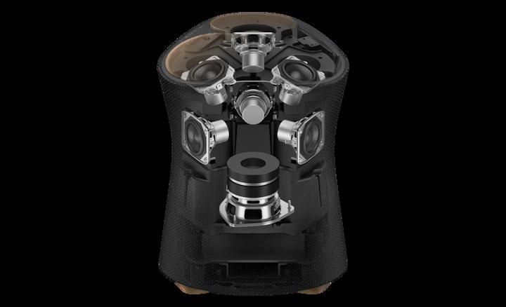 Mặt bên trong SRS-RA5000 hiển thị bảy bộ củ loa