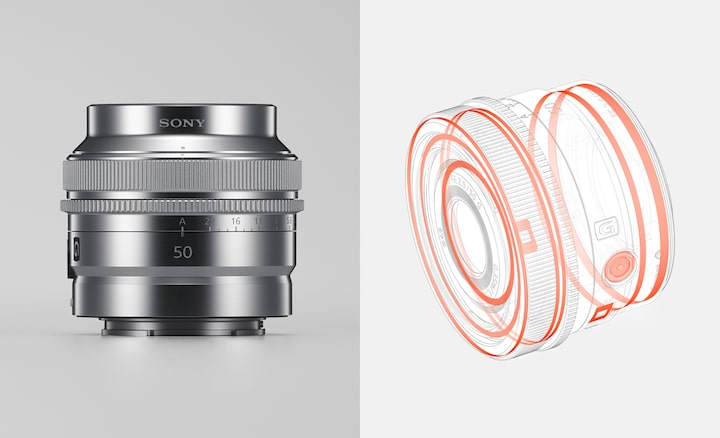 Hình ảnh sản phẩm kết hợp minh họa cấu trúc chống bụi và chống ẩm cùng chất liệu hoàn thiện bên ngoài bằng kim loại của ống kính