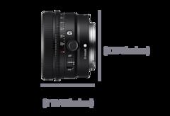 Mặt trái ống kính với kích thước Chiều rộng 45 mm (1 13/16 inch) và Chiều cao 68 mm (2 3/4 inch)
