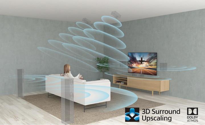 Cảnh phòng khách thể hiện hiệu ứng âm thanh vòm với XR Surround