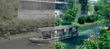 Hình ảnh thuyền trên sông, trong đó bên trái của ảnh là hình ảnh trước khi chỉnh màu