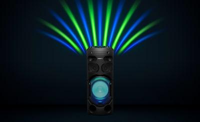 Đèn loa, đèn tiệc màu xanh lam và xanh lá cây