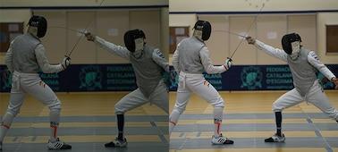 Hình ảnh minh họa tính năng chụp chống rung hình, với hình chụp kiếm sĩ (trái) không có và (phải) có tính năng chụp chống rung hình