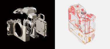 Bên trái: Hình ảnh tách rời vỏ hợp kim ma nhê và khung hình bên trong Bên phải: Hình thể hiện cấu trúc chống bụi và ẩm