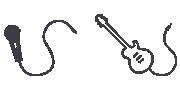 Biểu tượng micro và đàn ghi-ta